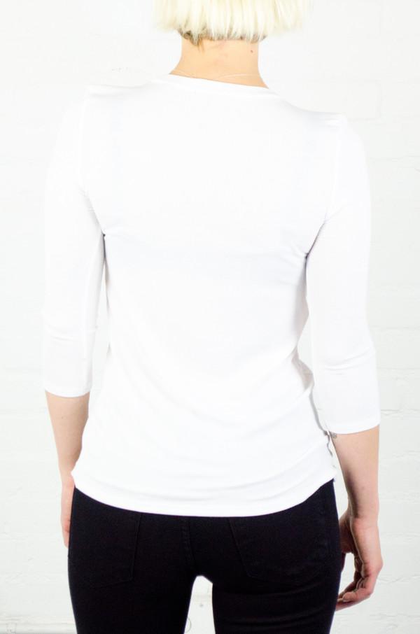 ATM Anthony Thomas Melillo ATM White 3/4 Sleeve Ballet Neck Rib Top