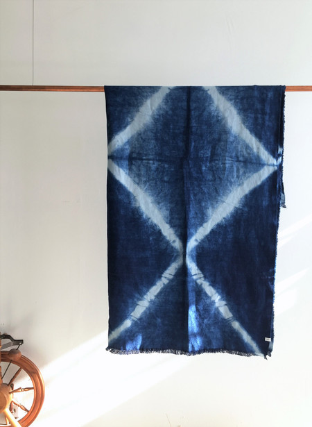 Loookout & Wonderland Linen Indigo Throw X Pattern