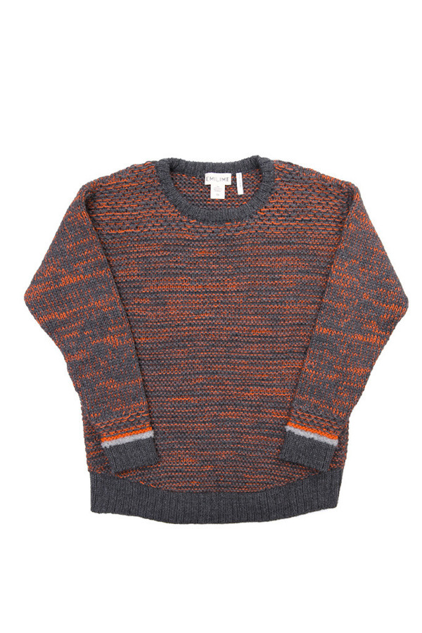 EMILIME Wall Sweater Charcoal Tangerine