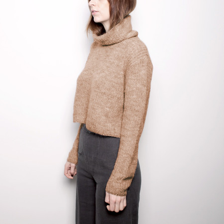 7115 by Szeki Mohair Turtleneck Cropped Sweater - Camel FW16