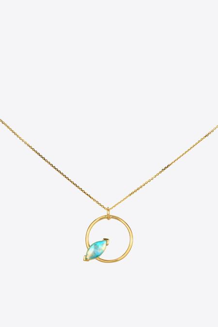 Wwake Inc. Marquise Opal Circle Necklace