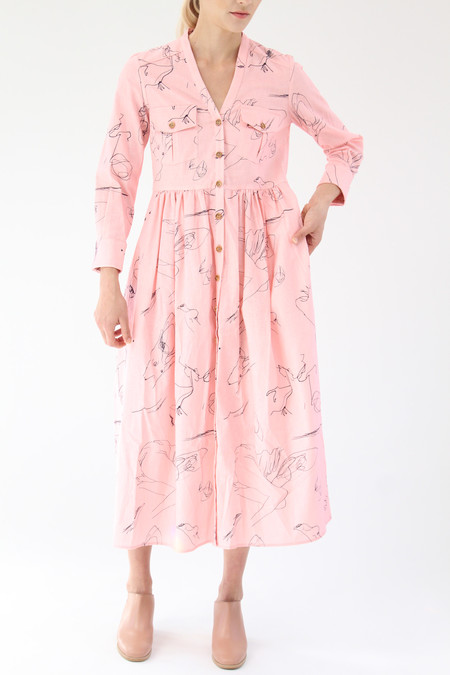 Heinui Nico Dress Pink Scribbles Print