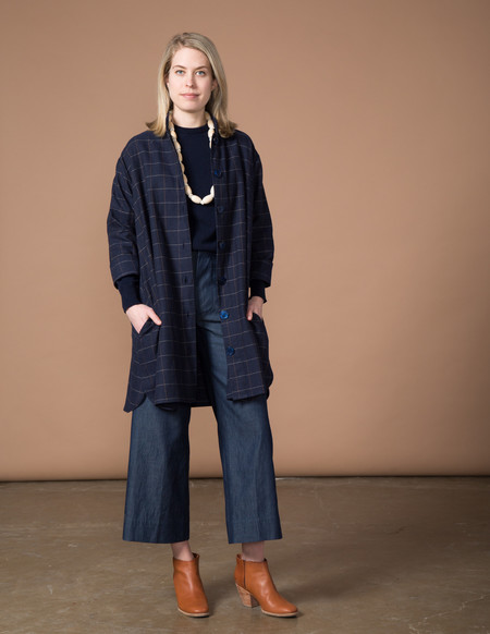SBJ Austin Stacey Dress - Navy Japanese Woven