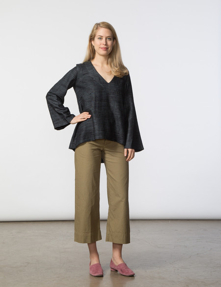 SBJ Austin Pamela Top - Black Woven Silk