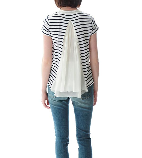 Sacai Luck Striped T-shirt with Satin Back