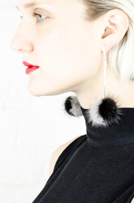 Tuleste Black and Grey Mink Pom Pom Earrings