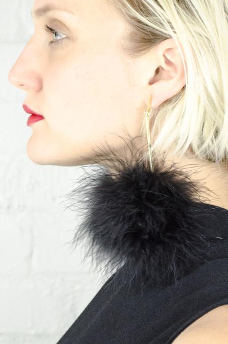 Tuleste Black Marabou Pom Pom Earrings