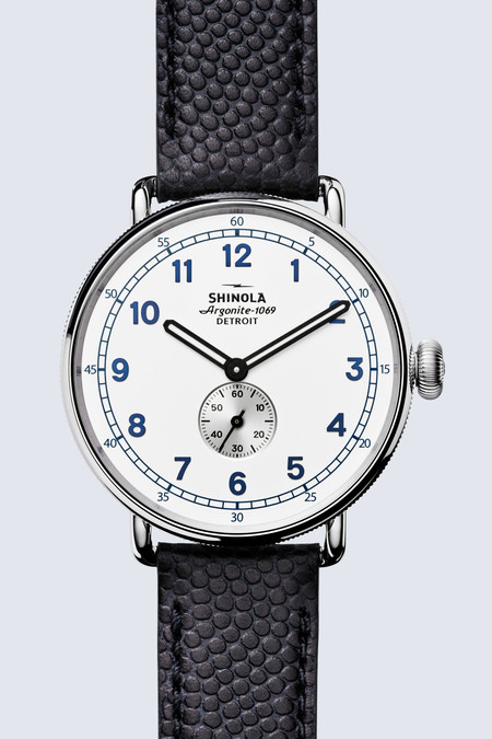 Shinola Canfield Cannonball Limited Edition 43mm Watch in Matte White/Navy