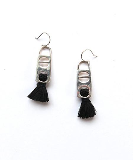 Erin Considine 1X2 Tassel Earrings in Sterling Silver + Black Silk