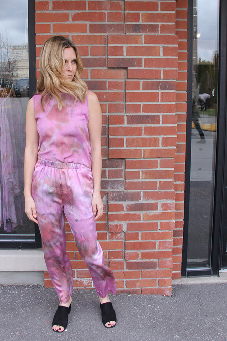 Raquel Allegra FUSCHIA HAND DYED CHARMEUSE RELAXED PANT