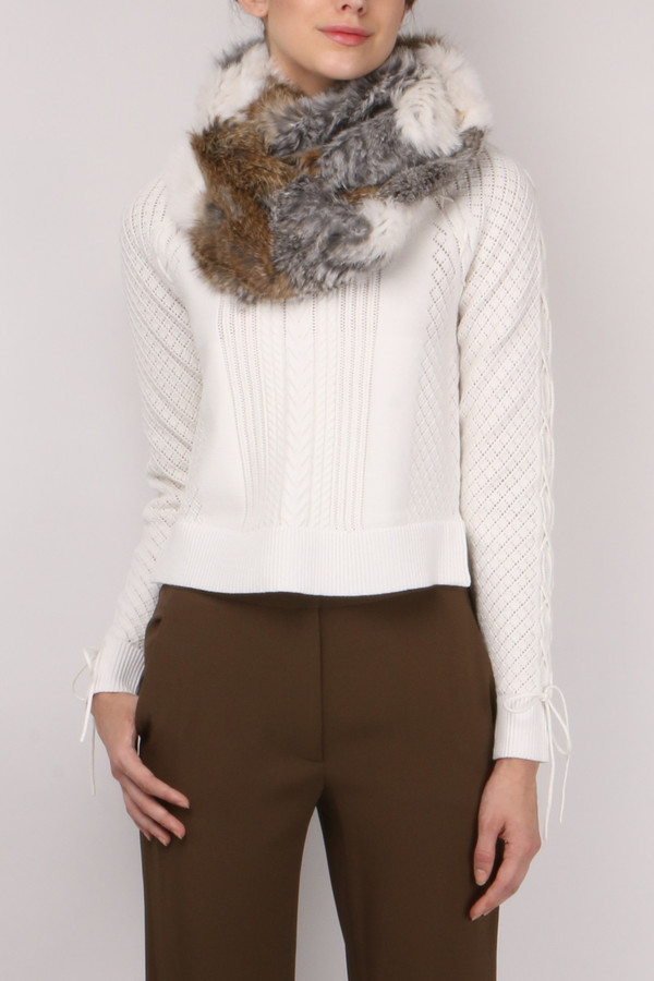 Jocelyn Fur Chevron Long Hair Rabbit Scarf