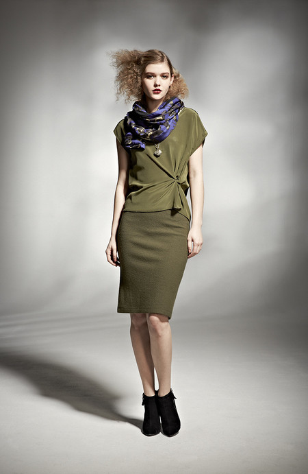 H. Fredriksson W 14 Twist Top Olive Silk