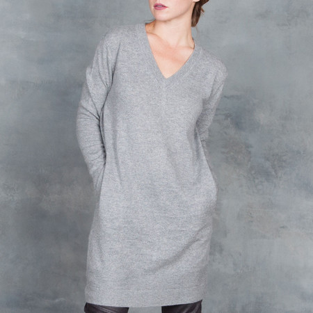 Duffy Heather Grey Black Pullover Sweater Cashmere