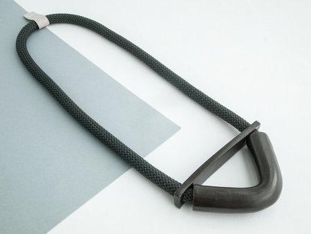 YYY 5/8'' black bent half moon necklace