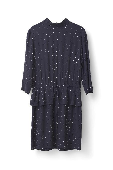 Ganni Rosemont Crepe Peplum Dress