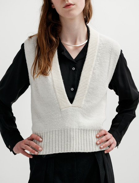 Lemaire Knit Sleeveless Sweater White