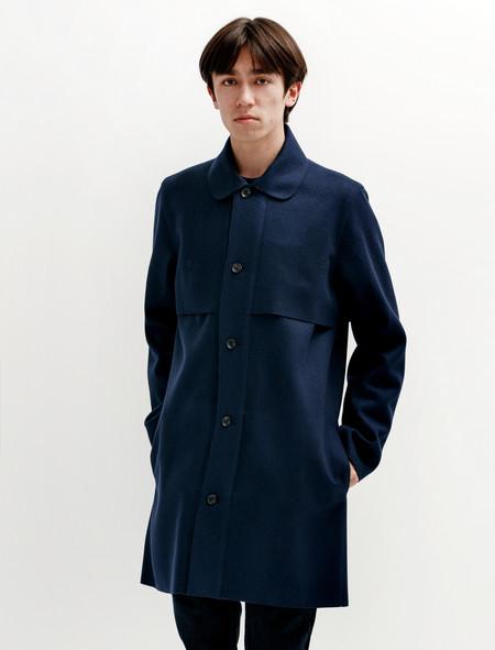Patrik Ervell Mac Overcoat Navy Wool Felt
