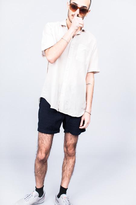 DDUGOFF Short Sleeve Buttondown Shirt Sheer Beige Cotton/Silk