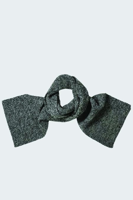 MHL Ribbed Scarf British Wool Black/Ecru Twist