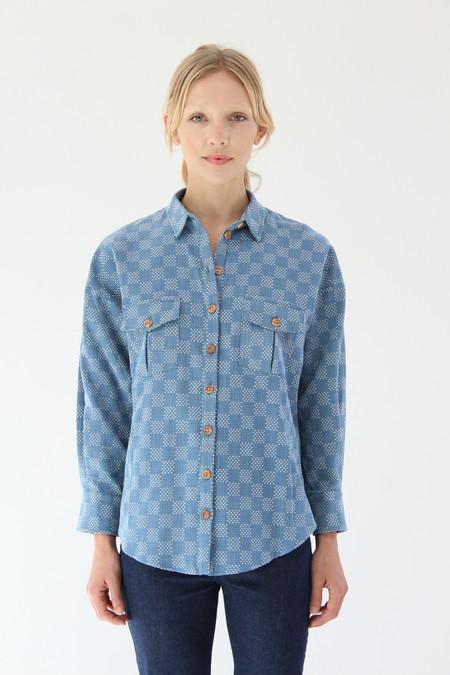 Heinui Ninon Shirt Bleached Sashiko Embroidered Cotton