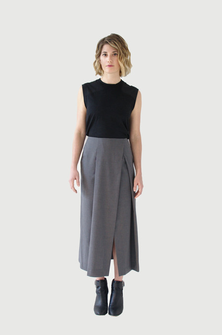 UNIFORME Acevedo Skirt - Italian Wool Grey Pinstripe