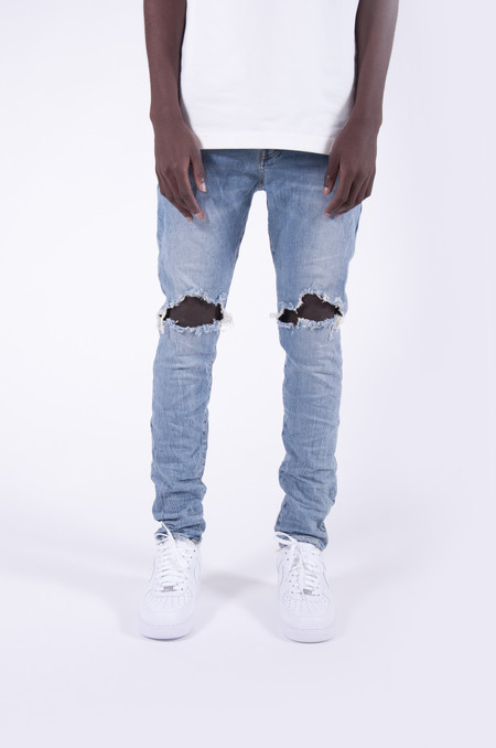 Purple P002 Dropped Fit Denim Light Indigo Ripped