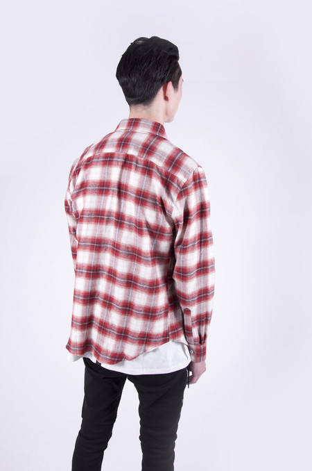 Naked & Famous Regular Shirt Ombre Soft Check Red