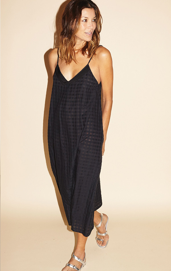 Two New York Grid Slip Dress with Grosgrain ribbon