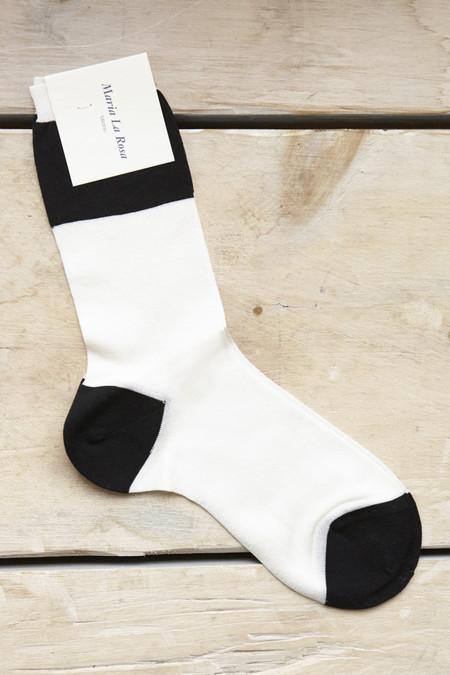 Maria La Rosa Wide Stripe Socks in Ivory & Black