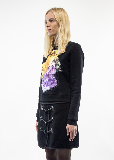 Carven Black Crystal Patch Sweater