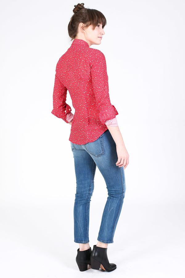 Vert & Vogue Button down shirt in red floral