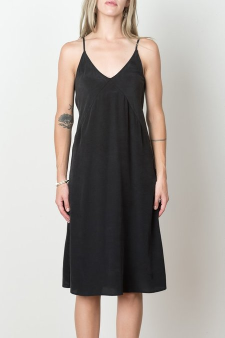 Podolls Long Slip Dress In Black Crepe