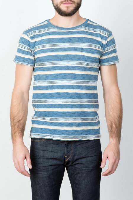 RRL Indigo Striped Pocket Tee