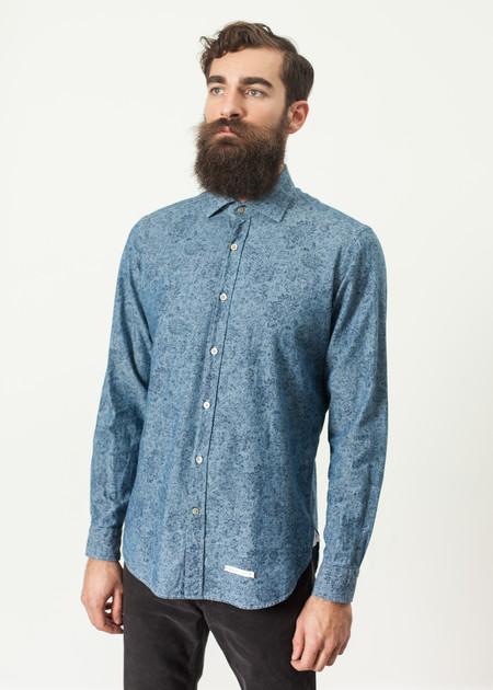 Men's Drumohr Floral Button-Up in Blue