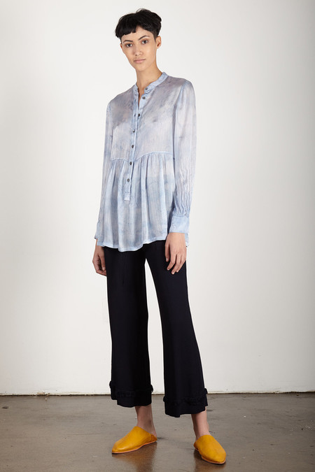 Raquel Allegra SKY VINTAGE SILK STRIPE EMPIRE BLOUSE