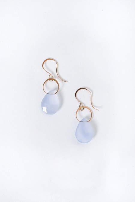 Melissa Joy Manning Single Drop Earrings in Blue Chalcedony/Gold