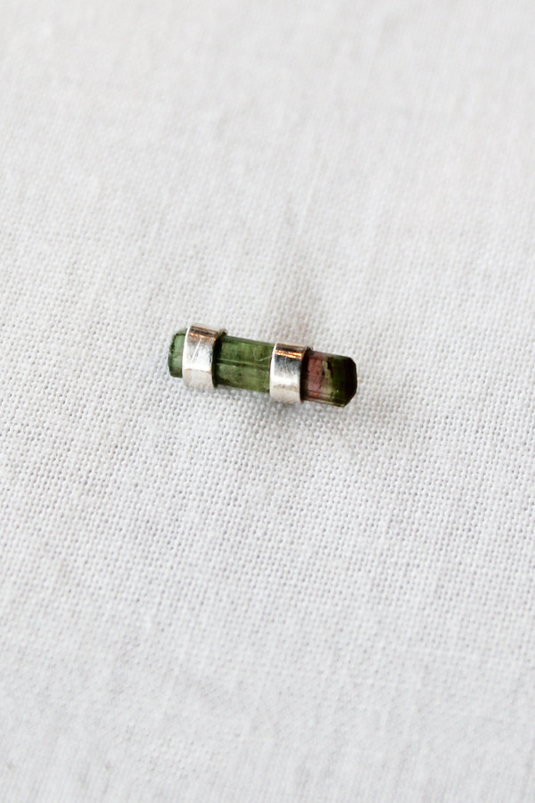 Better Late Than Never Double Post Watermelon Tourmaline Bar Stud