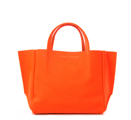 Ampersand as Apostrophe Orange Neon Vintage Snake Stiff Half Tote