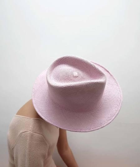 Ryan Roche Pinch Panama Hat - Pink