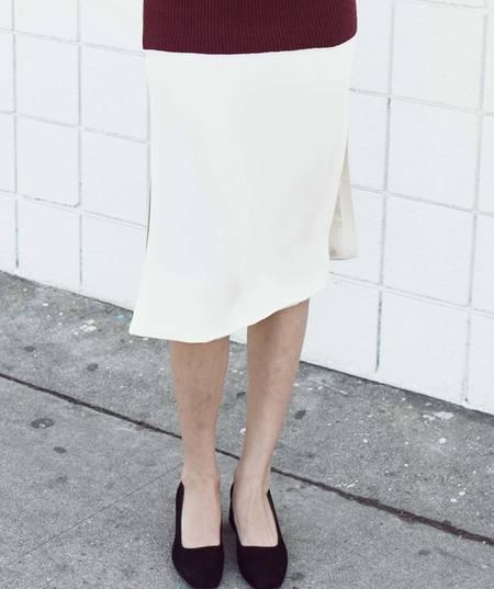 Ryan Roche Midi Skirt with Side Split - Ivory
