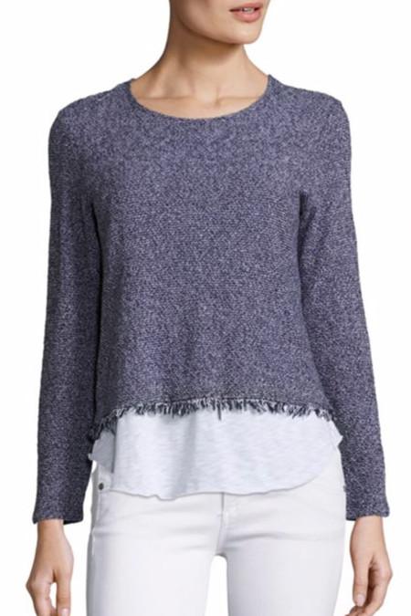 Generation Love Simone Fringe Sweater | Navy White