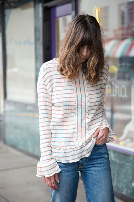 intropia crinkle stripes blouse