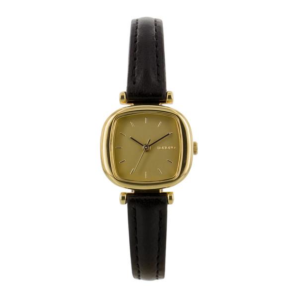 Komono - Gold with Black Leather Strap