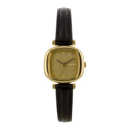 Komono - Gold with Black Leather Strap