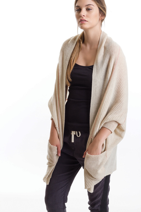 Paychi Guh Cashmere Cocoon Cardigan Oat/Tomato