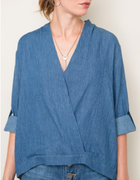 Sunday Supply Co. Chambray Crossover Top