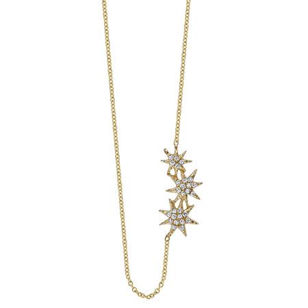 Gabriela Artigas Triple Star Necklace with White Pavé Diamonds