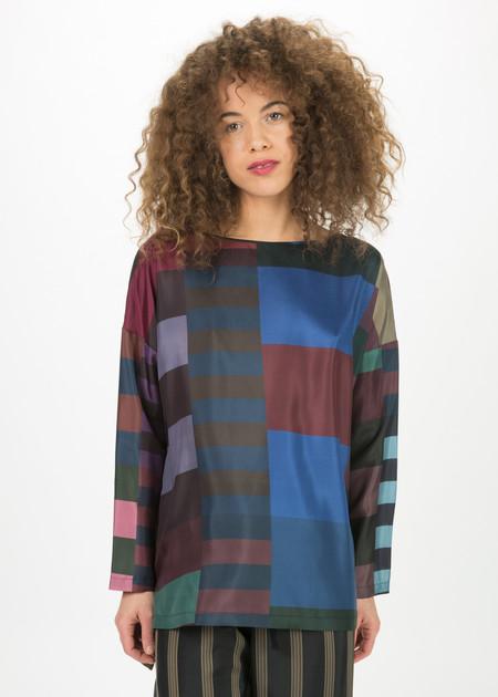 Odeeh Color Block Silk Top