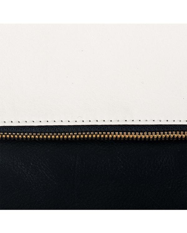 Clare Vivier Foldover Clutch in Two Tone Cream/Black