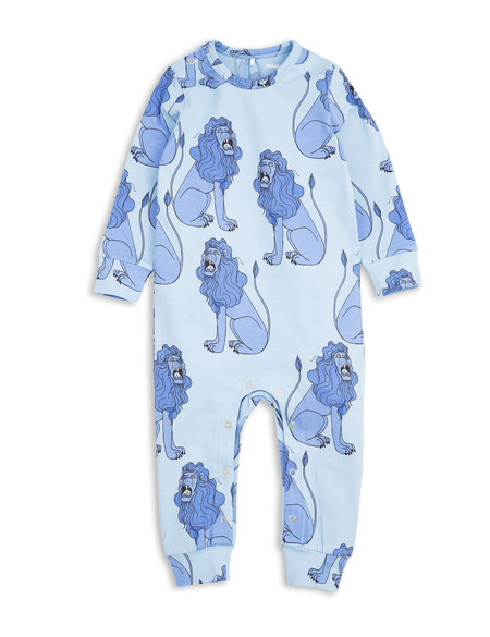 Kid's Mini Rodini LION PRINT ONESIE - LIGHT BLUE
